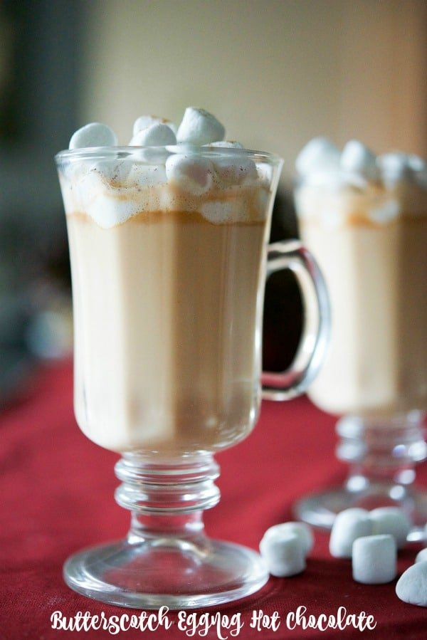 Butterscotch Eggnog Hot Chocolate is a satisfying, sweet treat that is sure to warm the soul during the cold winter months. #hotchocolate #butterscotch