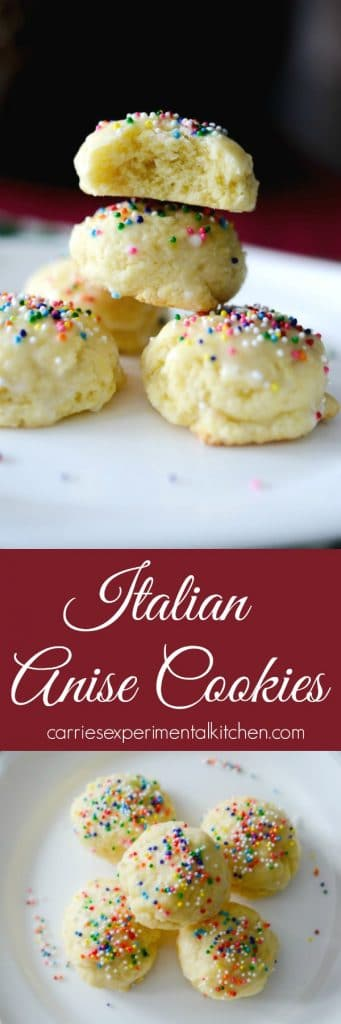 Italian Anise Cookies traditionally are a soft, licorice flavored cookie covered with a powdered sugar glaze and nonpareil's sprinkled on top.  #cookies #italian #anise