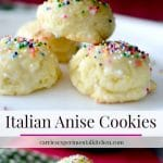 Italian Anise Cookies traditionally are a soft, licorice flavored cookie covered with a powdered sugar glaze and nonpareil's sprinkled on top.
