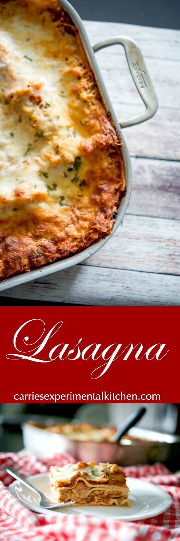 Lasagna made with a mixture of ricotta and mozzarella cheeses, layered with marinara sauce and cooked until hot and bubbly. It's the perfect Italian meal for large crowds or Sunday family dinners. #lasagna #pasta #sundaydinner