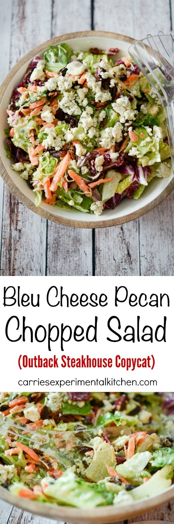 Make Outback Steakhouse's Bleu Cheese Pecan Chopped Salad at home with mixed greens and cinnamon pecans tossed in a Bleu cheese vinaigrette; then topped with crumbled Blue Cheese.  #salad #bleucheese #pecan #outbacksteakhouse #copycatrecipe