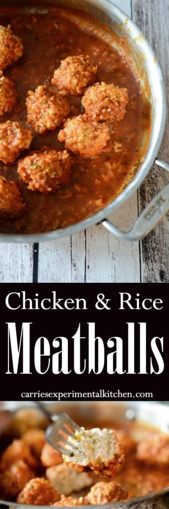 Chicken & Rice Meatballs made with ground chicken, fresh herbs and long grain rice cooked in a tomato sauce is a healthy dinner alternative with robust flavor. #chicken #rice #meatballs #healthy #dinner