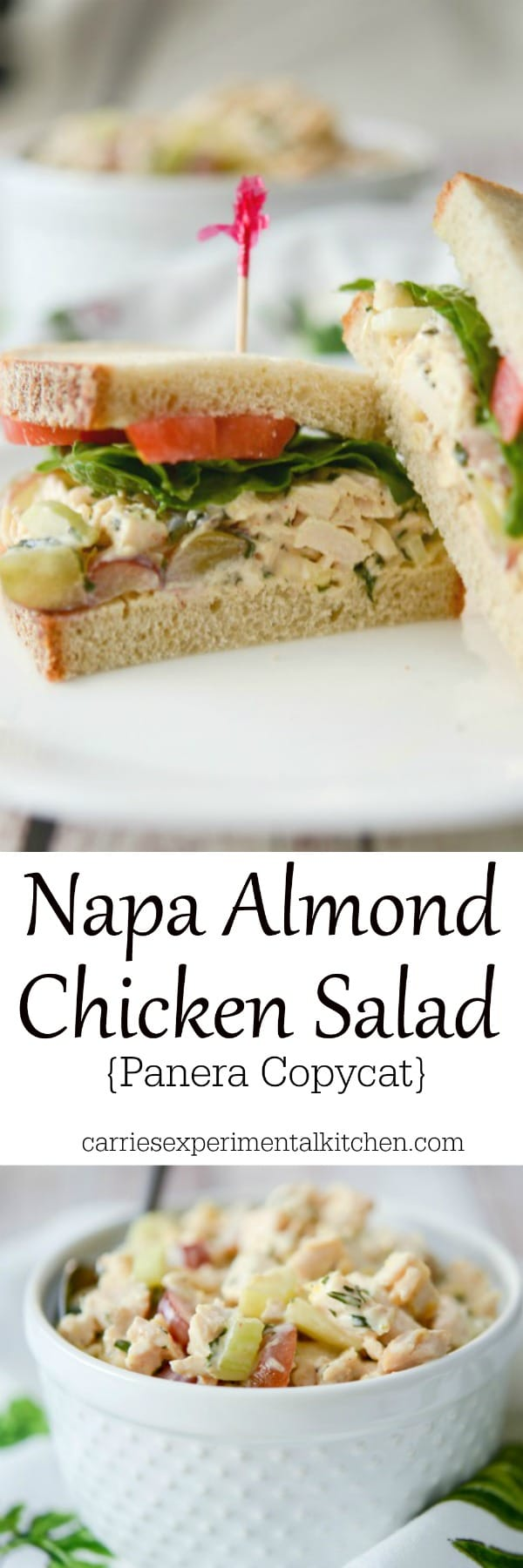 This Panera Bread copycat recipe for Napa Almond Chicken Salad made with tender white meat chicken, silvered almonds and grapes in a honey lemon herb mayonnaise makes a tasty sandwich for lunch or dinner. #chicken #sandwich #salad #copycatrecipe