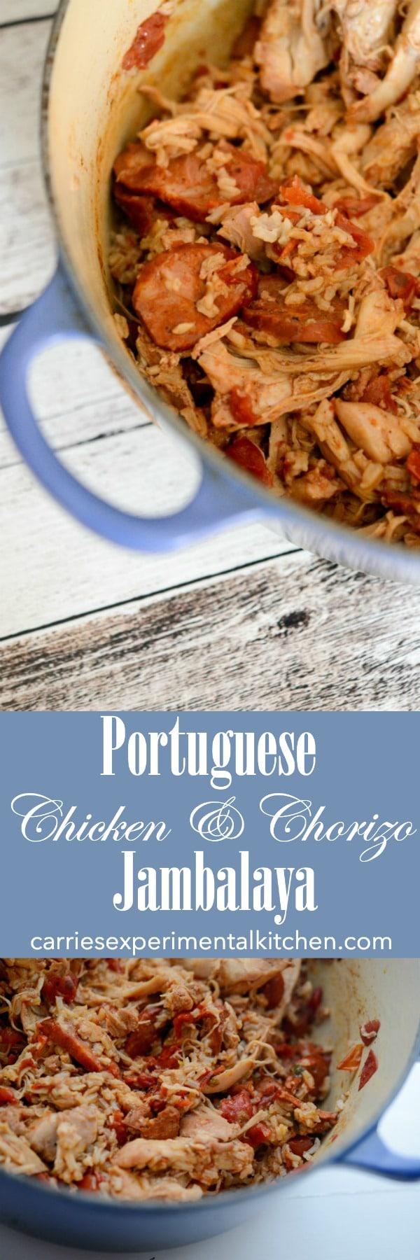 Portuguese Chicken & Chorizo Jambalaya made with boneless, skinless chicken thighs, smoked chorizo sausage, fire roasted tomatoes and long grain rice. #chorizo #chicken #portuguese #rice #jambalaya