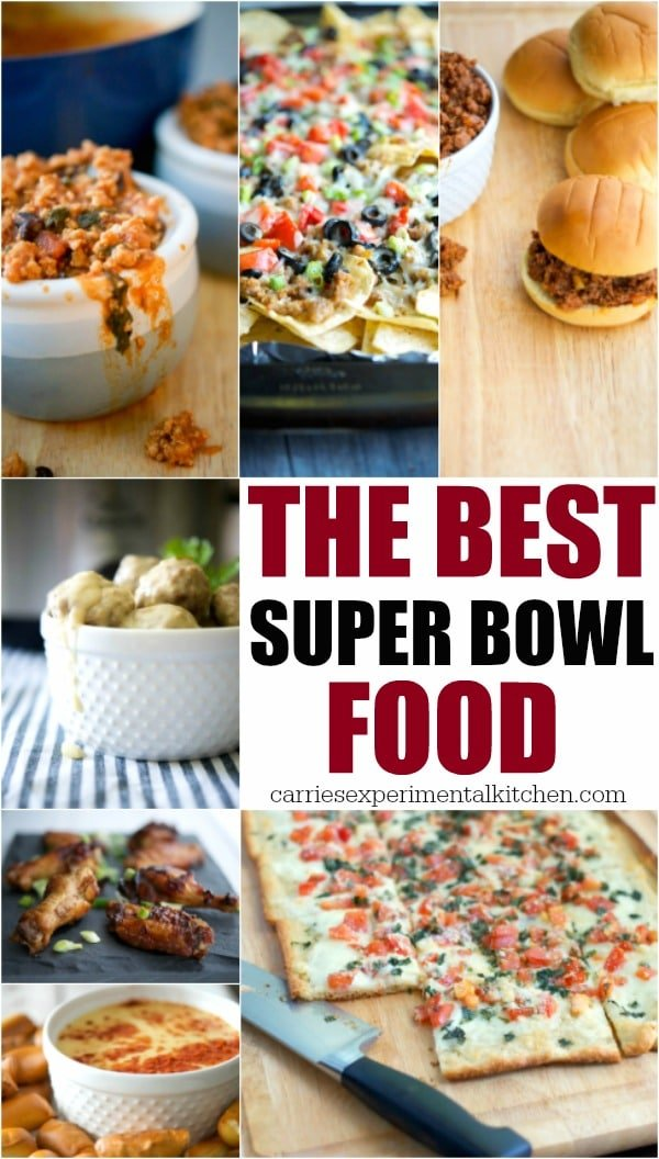 Are you are scrambling around for new ideas for your Super Bowl party this year? Here is some of The Best Super Bowl Foodfrom Carrie's Experimental Kitchen. #footballfood #gameday #snacks #appetizers #superbowl #superbowlfood #football