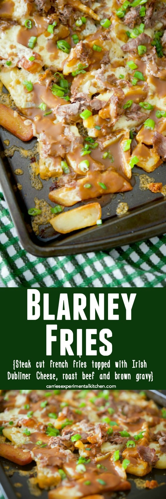 Blarney Fries are my version of an Irish Poutine made with steak cut french fries, Irish Dubliner cheese, shaved roast beef; then topped with brown gravy. #frenchfries #potatoes #poutine #irish #stpatricksday