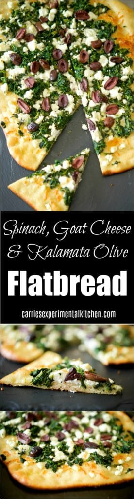 This tasty flatbread made with organic chopped spinach, crumbled Goat cheese and tangy Kalamata olives makes a tasty appetizer or quick weeknight meatless dinner.
