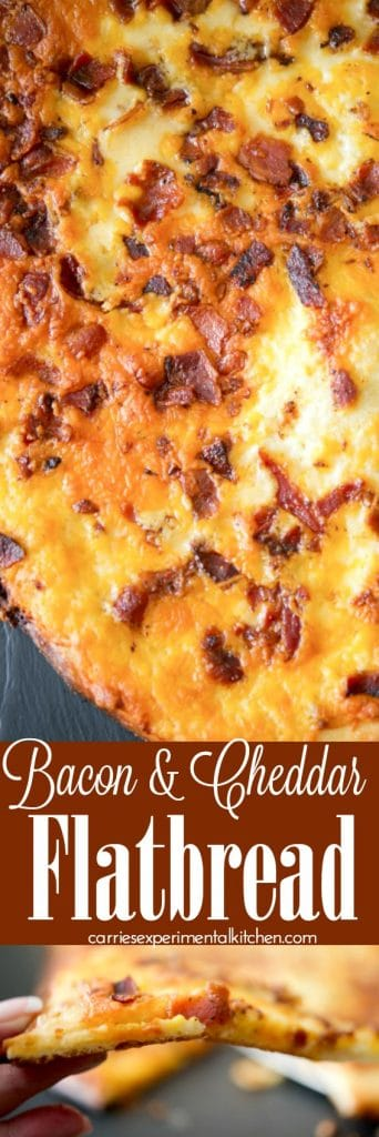 Bacon & Cheddar Flatbread made with your favorite pizza dough, crispy crumbled bacon and shredded sharp Cheddar cheese with a creamy horseradish sauce.