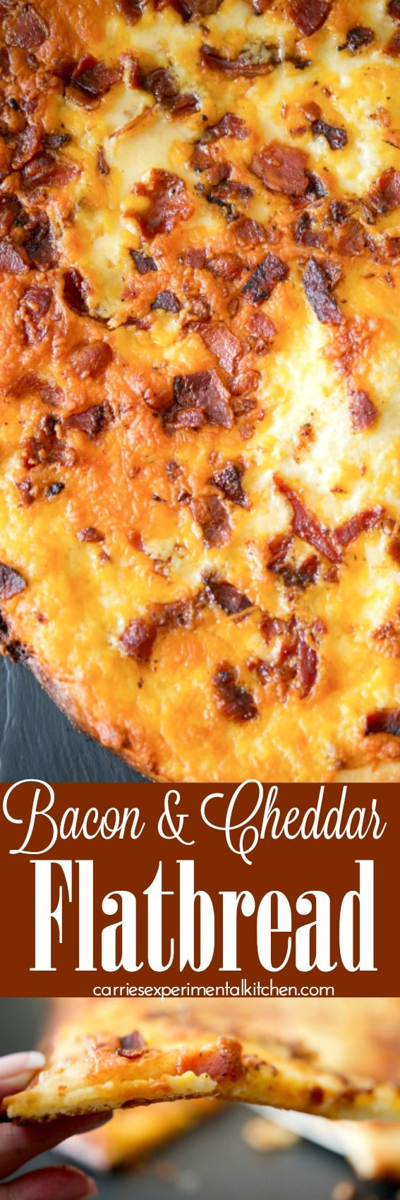 Bacon & Cheddar Flatbread made with your favorite pizza dough, crispy crumbled bacon and shredded sharp Cheddar cheese with a creamy horseradish sauce.  #flatbread #pizza #bacon #cheddar #appetizer #dinner