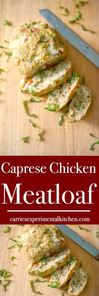 Caprese Chicken Meatloaf made with ground chicken, fresh Mozzarella, basil, diced plum tomatoes and gluten free breadcrumbs is a healthy dinner that's loaded with flavor.