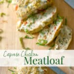 Caprese Chicken Meatloaf made with ground chicken, Mozzarella, basil, plum tomatoes and gluten free breadcrumbs makes a healthy weeknight dinner.