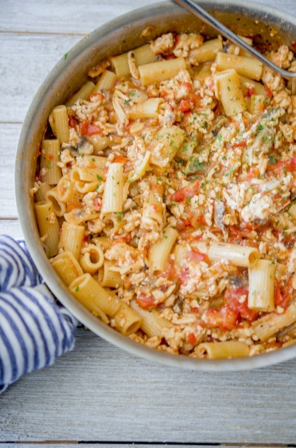 Italian Ground Chicken Pasta Skillet is a quick and easy, all-in-one meal that's deliciously flavorful without the extra mess.