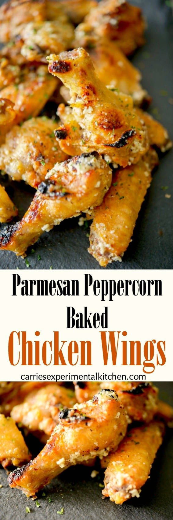 Chicken wings baked until crispy and golden brown; then topped with a Parmesan peppercorn garlic butter sauce. #chickenwings #wings #chicken #parmesan #appetizer #gameday