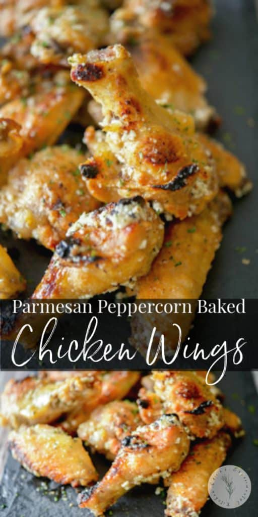 Parmesan Peppercorn Baked Chicken Wings: Chicken wings baked until crispy and golden brown; then topped with a Parmesan peppercorn garlic butter sauce.