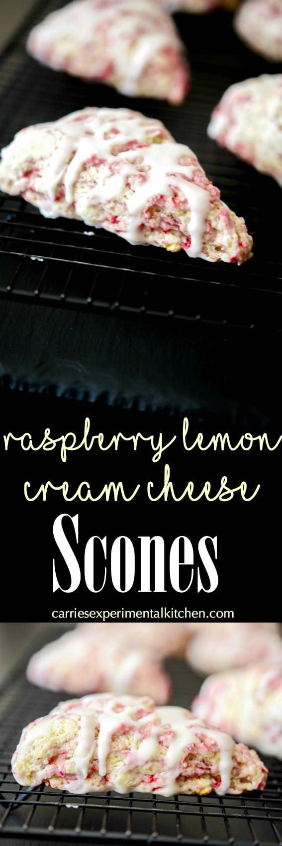 Raspberry Lemon Cream Cheese Scones made with fresh raspberries, lemon zest and cream cheese; then topped with a lemony sugar glaze are deliciously moist.  #scones #raspberries #lemon #breakfast #dessert