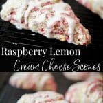 Raspberry Lemon Cream Cheese Scones made with fresh raspberries, lemon zest and cream cheese; then topped with a lemony sugar glaze.