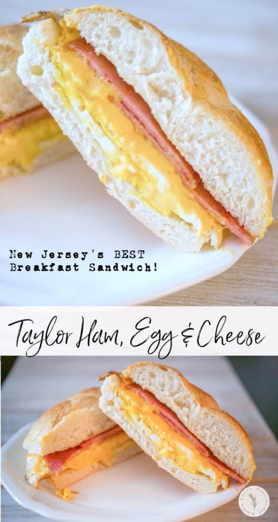 Taylor Ham, Egg and Cheese on a Hard Roll is THE BEST and most popular New Jersey breakfast sandwich in the state!