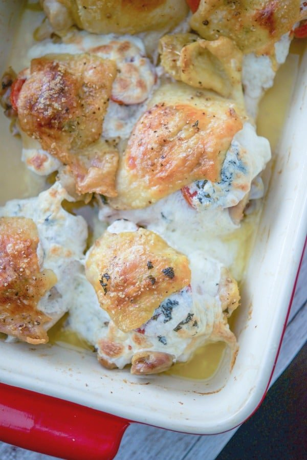 Chicken thighs stuffed with plum tomatoes, fresh Mozzarella cheese and basil is a deliciously easy weeknight meal idea that's loaded with flavor.