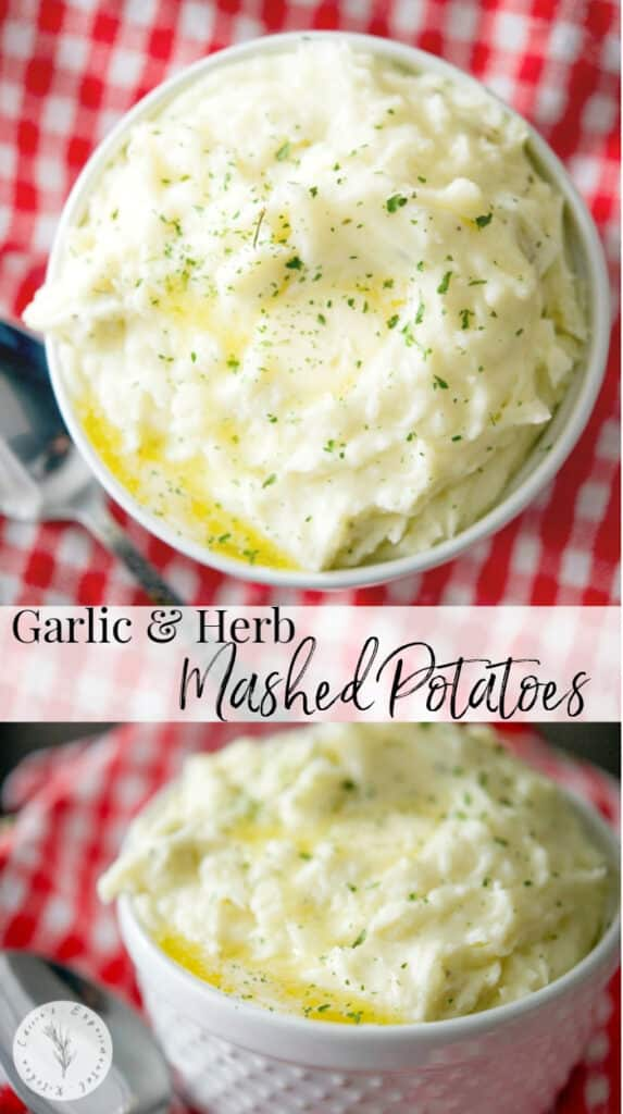 Creamy Garlic & Herb Mashed Potatoes made with Russet potatoes, Garlic & Herb Boursin Cheese, heavy cream and salted butter.