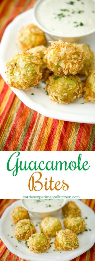 Guacamole Bites made with avocados, lime juice, tomatoes, onions and cilantro; then coated in crispy tortilla chips and deep fried until golden brown.