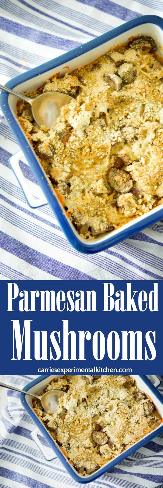 Portobello mushrooms tossed with fresh parsley, garlic and basil; then topped with a Parmesan cheese breadcrumb crust and baked. #mushrooms #vegetables #sidedish