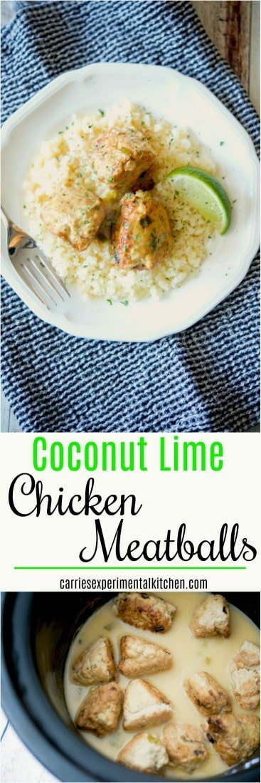 Coconut Lime Chicken Meatballs made with ground chicken, fresh limes and coconut milk are deliciously flavorful, gluten free and Whole30 approved. #chicken #groundchicken #glutenfree #whole30 #chickenrecipes #dairyfree #chickendinner #meatballs #coconut #lime #coconutmilk