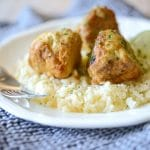 Coconut Lime Chicken Meatballs over Cauliflower Rice