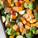 Are you looking for a low carb, easy to prepare weeknight meal? This Italian Style Chicken Sausage & Vegetables made on one sheet pan it it!