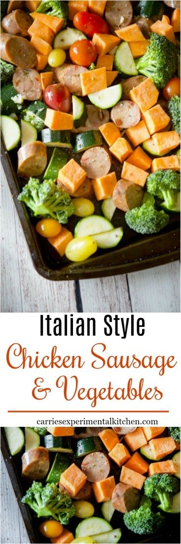 Are you looking for a low carb, easy to prepare weeknight meal? This Sheet Pan Italian Style Chicken Sausage & Vegetables made on one sheet pan is it! #sausage #chicken #lowcarb #dairyfree #glutenfree #whole30 #sheetpanmeal