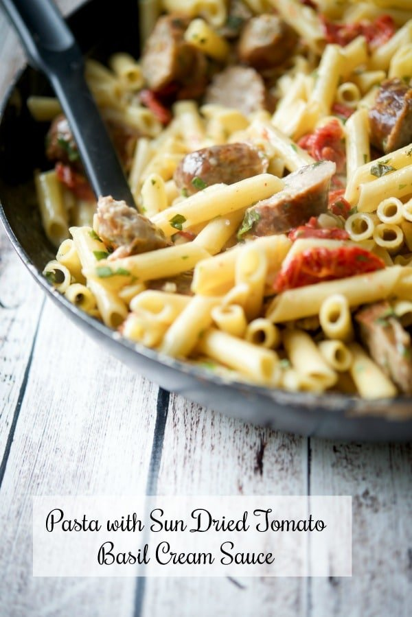 Pasta with Sun Dried Tomato Basil Cream Sauce is a quick and easy, versatile dinner that's perfect for those busy weeknights.