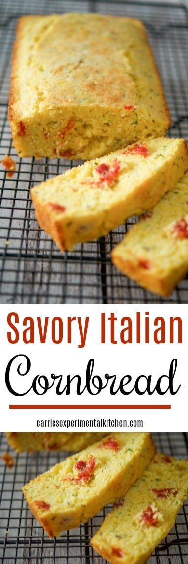 Savory Italian Cornbread made with yellow cornmeal, zucchini, sun dried tomatoes, rosemary and grated Pecorino Romano cheese. #bread #cornbread #italianfood
