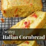 Savory Italian Cornbread made with yellow cornmeal, zucchini, sun dried tomatoes, rosemary and grated Pecorino Romano cheese.