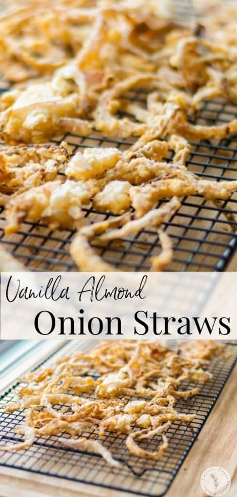 Top your favorite steak or hamburger with these crunchy Vanilla Almond Onion Straws made with vanilla almond milk and red onions.