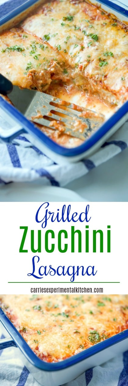 Grilled Zucchini Lasagna made with layers of garden fresh zucchini sliced lengthwise; then grilled and layered with your favorite marinara sauce, Ricotta and Mozzarella cheeses. #lasagna #zucchini #meatless #glutenfree