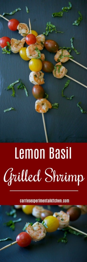 Lemon Basil Grilled Shrimp marinated in fresh squeezed lemon juice, garlic, basil, white vinegar and oil are deliciously light and flavorful. Skewer them with your favorite vegetables; then serve over rice or pasta for a complete meal. #shrimp #seafood #grilling #dairyfree #glutenfree #whole30