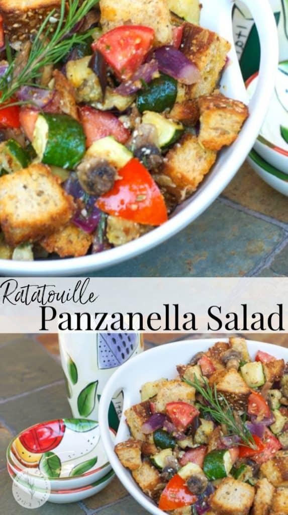 Panzanella Salad made with fresh eggplant, zucchini, mushrooms, garlic & tomatoes tossed with multigrain bread and a light Lemon Chardonnay Vinaigrette.