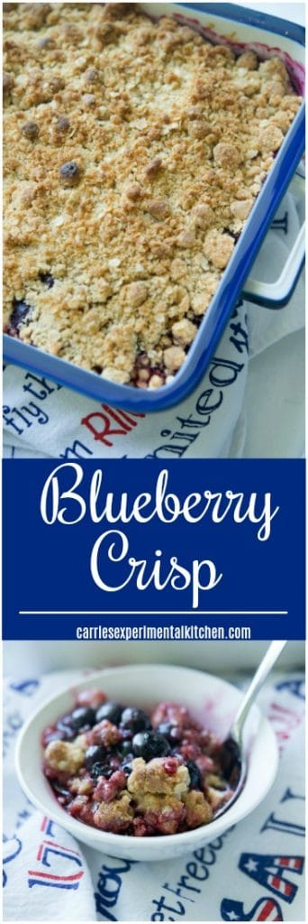Blueberry Crisp made with fresh blueberries, honey, lemon and vanilla extract; then topped with a buttery brown sugar, oat topping is delicious and so simple to make.
