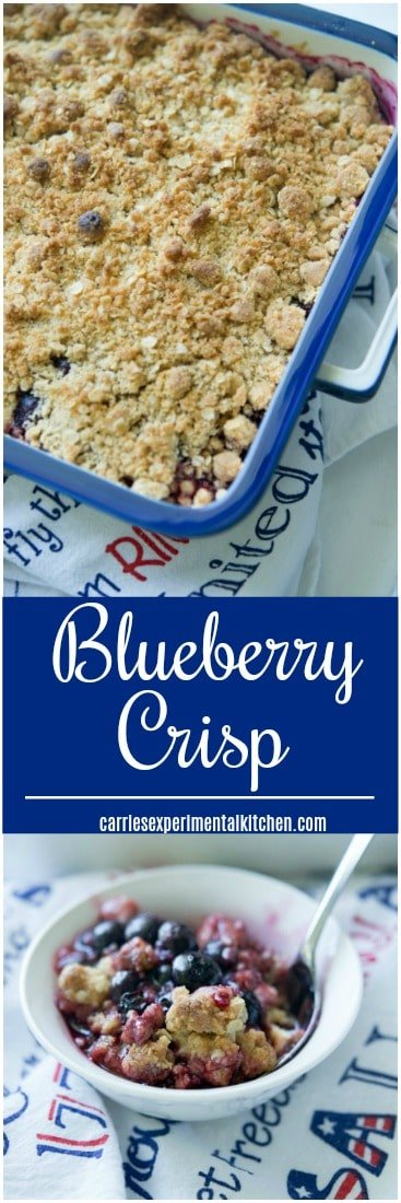 Blueberry Crisp made with fresh blueberries, honey, lemon and vanilla extract; then topped with a buttery brown sugar, oat topping is delicious and so simple to make.#blueberries #dessert