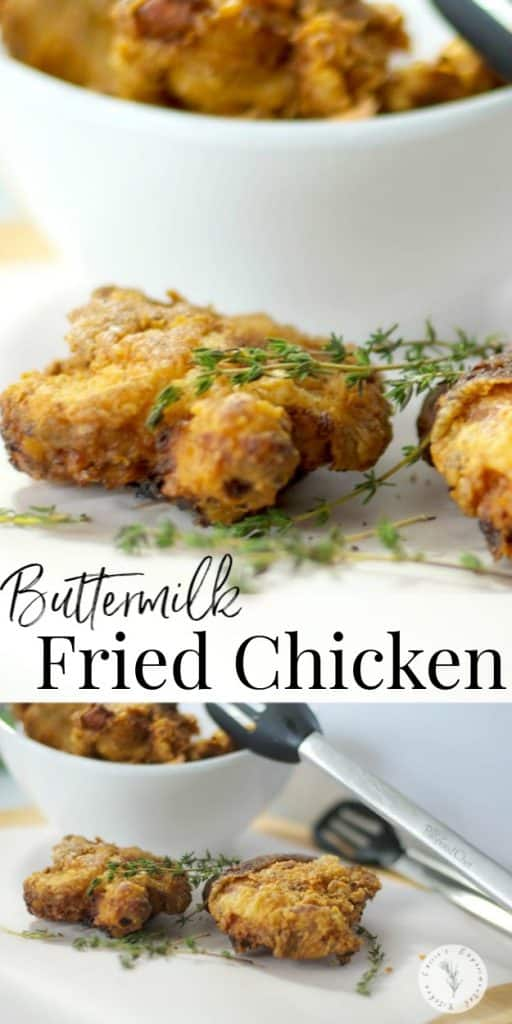 Buttermilk Fried Chicken made with bone-in chicken thighs that are soaked in buttermilk; then dipped in flour and herbs and fried until crispy.
