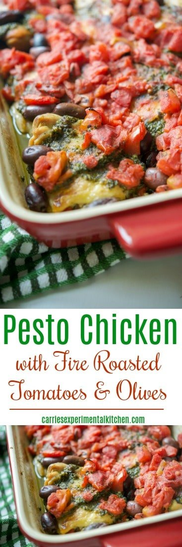 Chicken thighs topped with fresh basil pesto, fire roasted diced tomatoes and Kalamata olives; then baked until tender and juicy.#chicken #pesto #tomatoes #olives #glutenfree