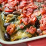 Pesto Chicken with Fire Roasted Tomatoes & Olives
