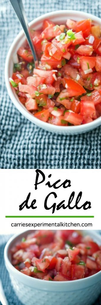 Pico de Gallo; a cold Mexican dip made with fresh tomatoes, onions, cilantro, jalepeno peppers and lime juice is deliciously refreshing.