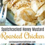 Spatchcocked Honey Mustard Roasted Chicken is a delicious, quicker way to roast a whole chicken without cutting it completely into parts.