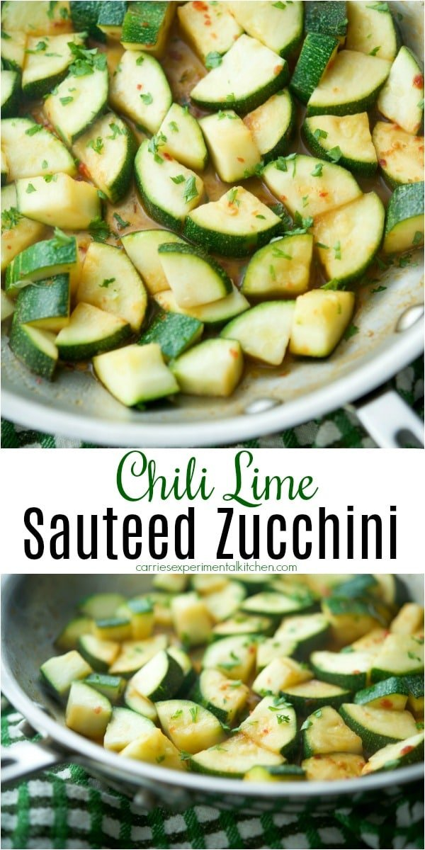 Chili Lime Sautéed Zucchini is an easy side dish with a hot and sour taste that goes perfectly when you want to add a little flavor to your recipes. #zucchini #vegetables #sidedish #dairyfree