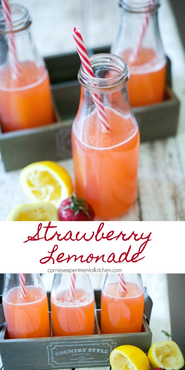 Homemade Strawberry Lemonade is a simple to make, cool, refreshing drink made with fresh strawberries, lemon juice, sugar and water.  #drinks #lemon #strawberry #strawberries