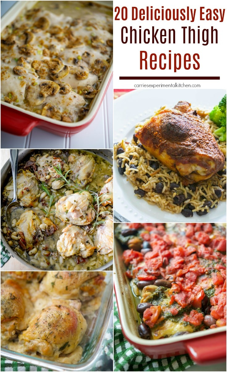 Chicken thighs are inexpensive, versatile and so flavorful. Here are 20 Deliciously Easy Chicken Thigh Recipes to make meal planning a breeze.  #chicken #chickenthighs #dinner