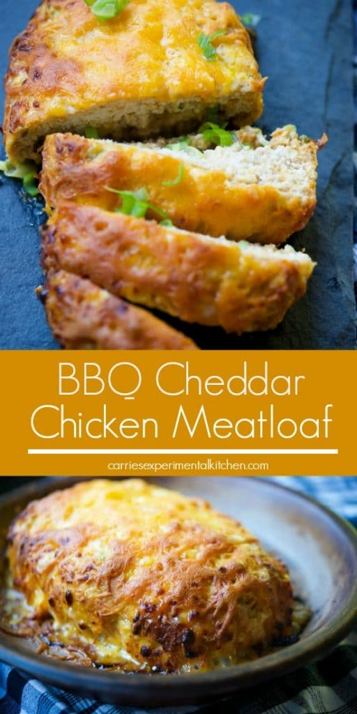 BBQ Cheddar Chicken Meatloaf made with extra lean ground chicken, your favorite bbq sauce, shredded cheddar cheese and gluten free breadcrumbs.