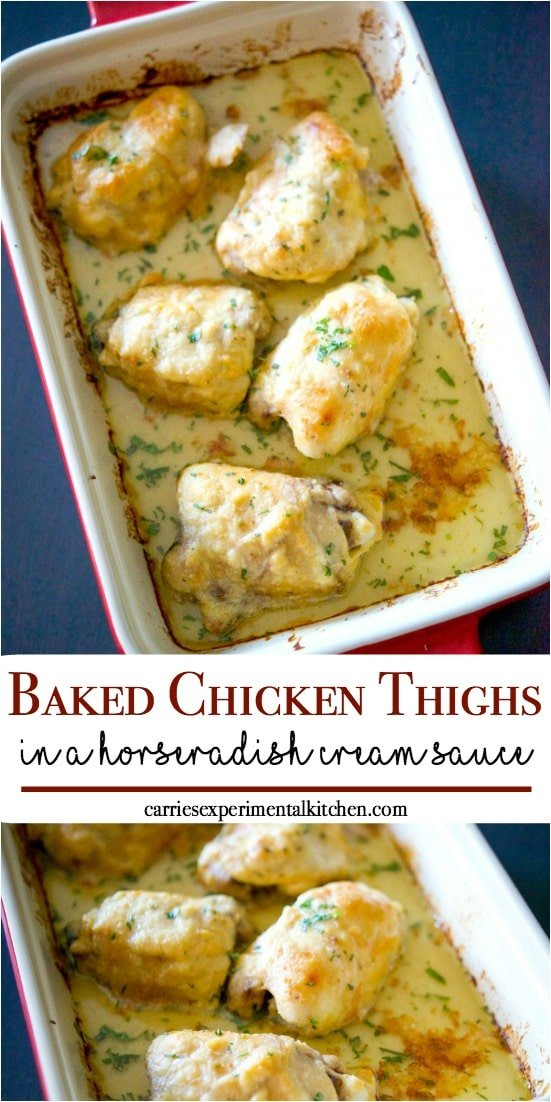 Bone-in chicken thighs topped with a horseradish cream sauce made with horseradish, milk, butter, sour cream and Dijon mustard; then baked until crispy. #chicken #chickendinner #chickenrecipes