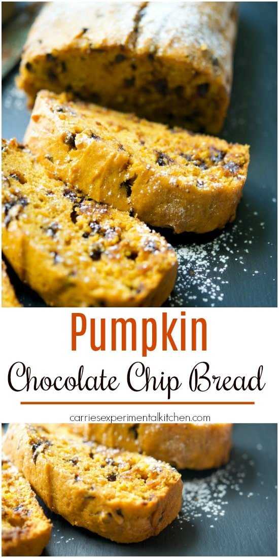 This Pumpkin Chocolate Chip Bread made with vanilla pudding makes this quick bread deliciously moist. Try it for breakfast or as an afternoon snack!  #pumpkin #dessert #breakfast #bread #quickbread