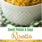 Sweet Potato and Sage Risotto made with Italian Arborio rice, grated sweet potatoes, fresh sage and apple cider makes this the quintessential Fall side dish.